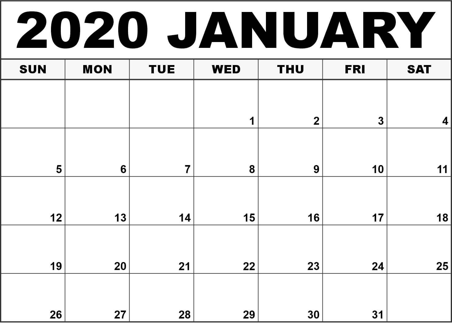 Blank January 2020 Calendar