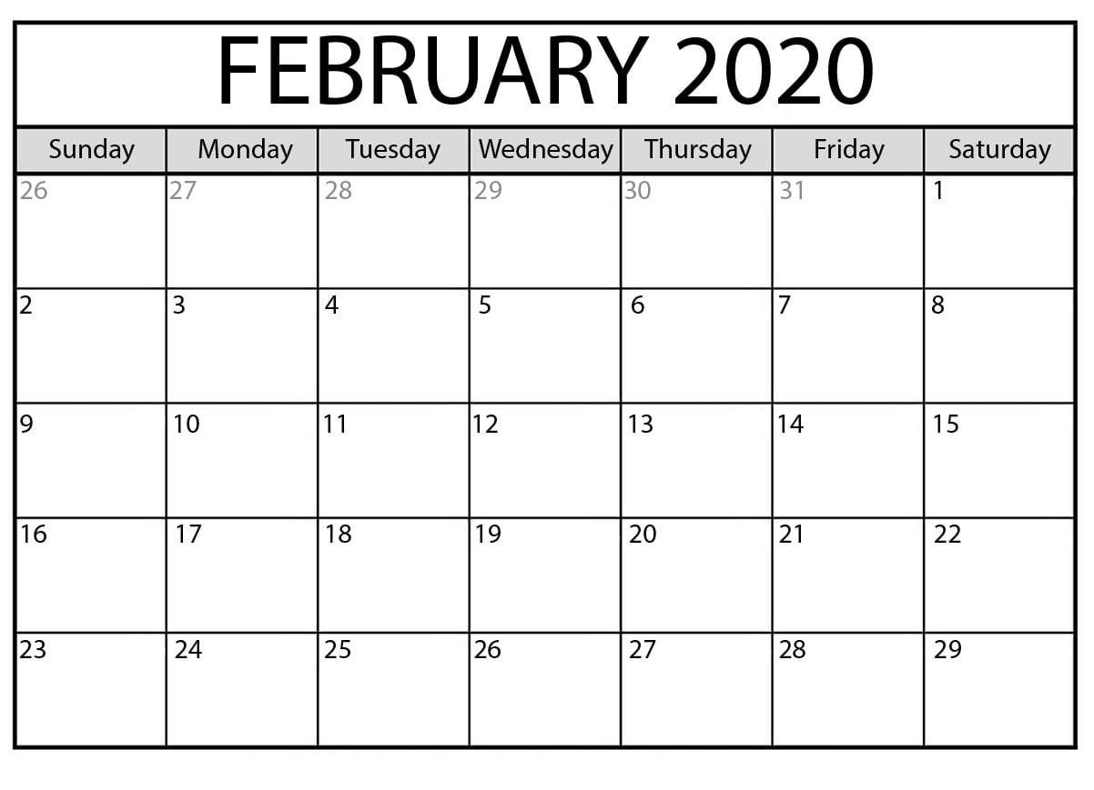 February 2020 Blank Calendar