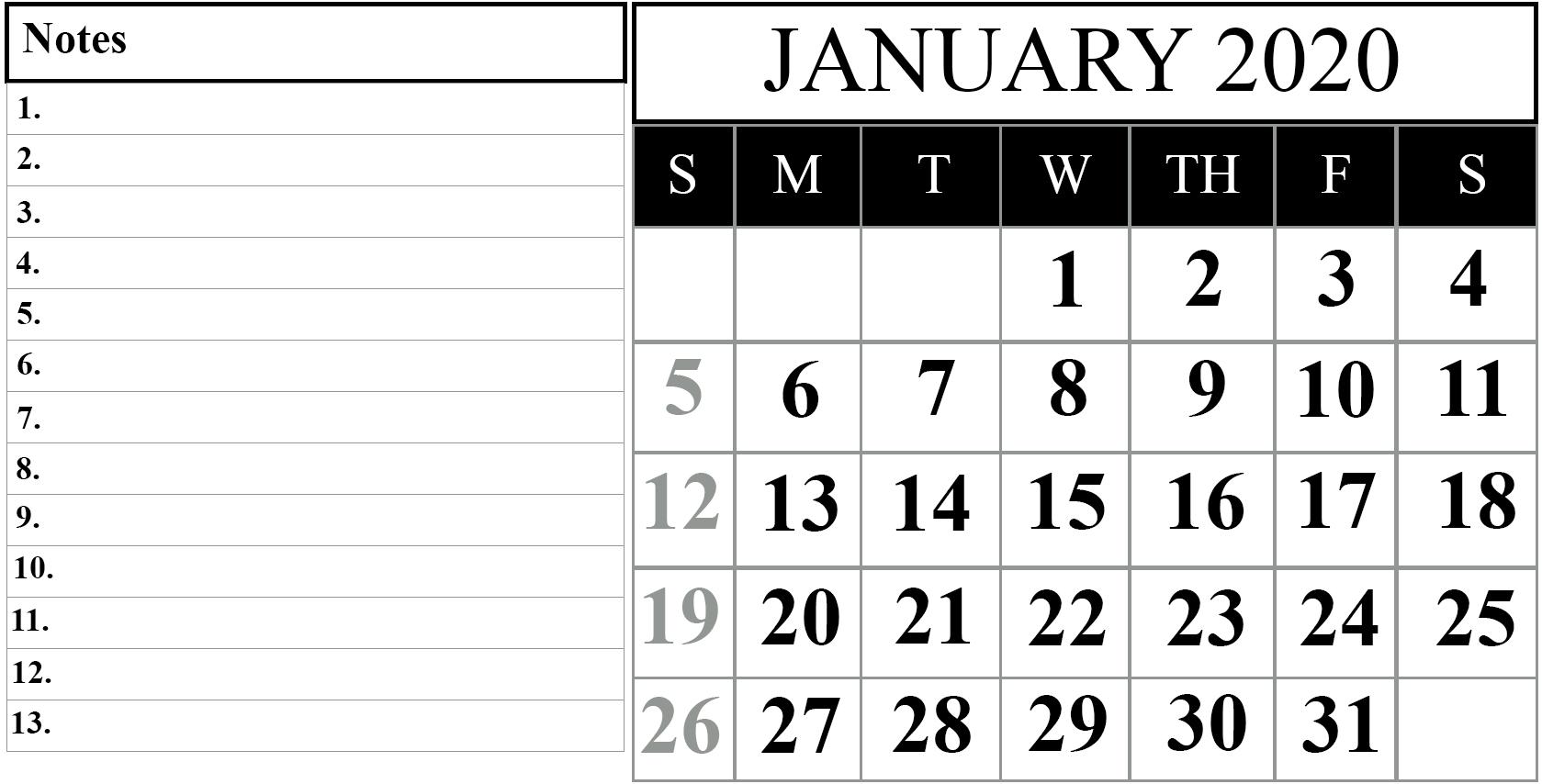January 2020 Blank Calendar