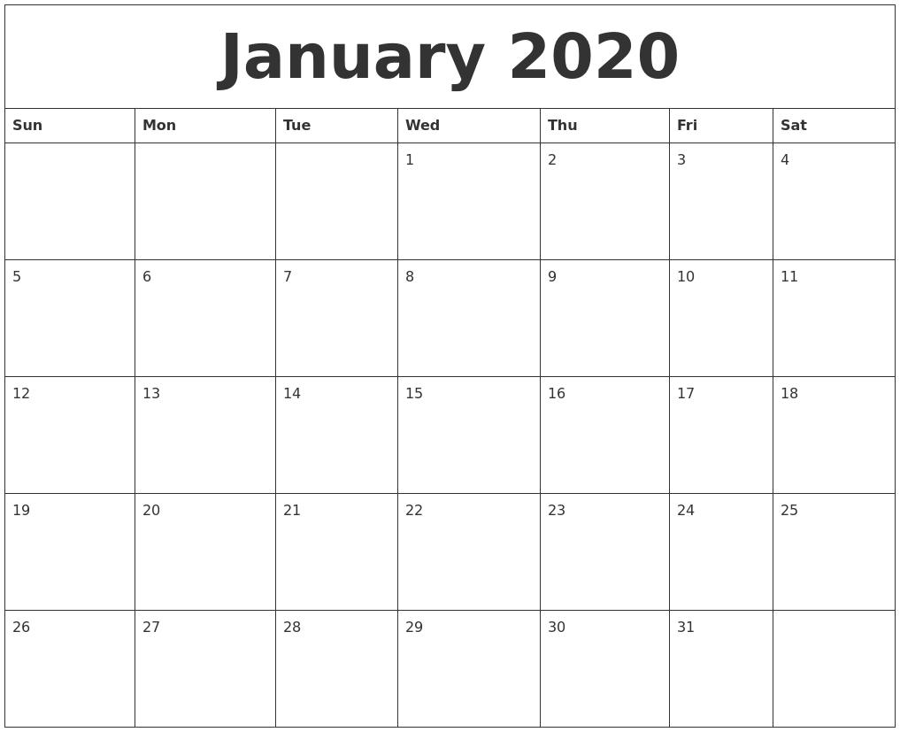 January 2020 Calendar Blank