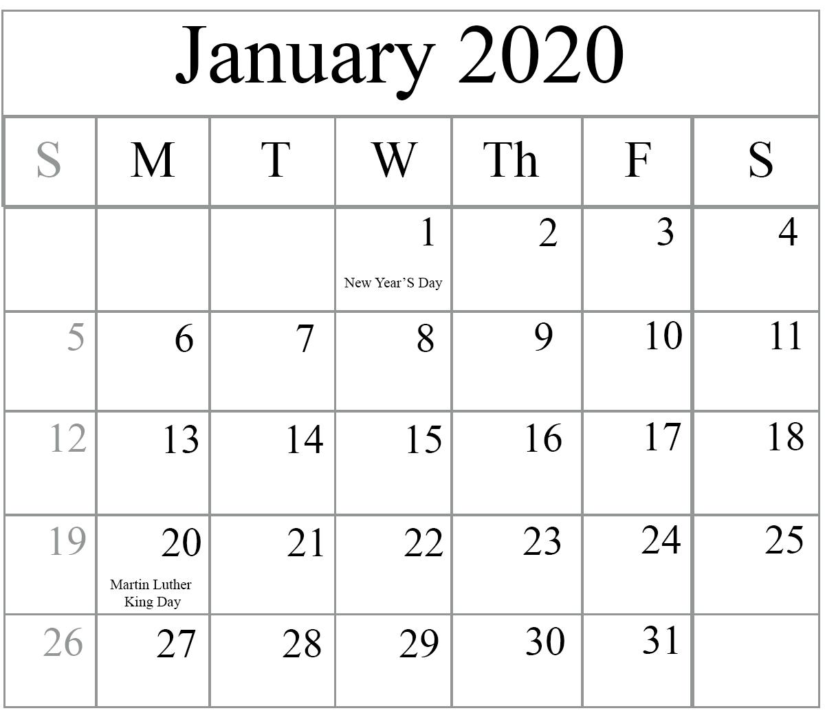 January 2020 Printable Calendar Canada With Holidays