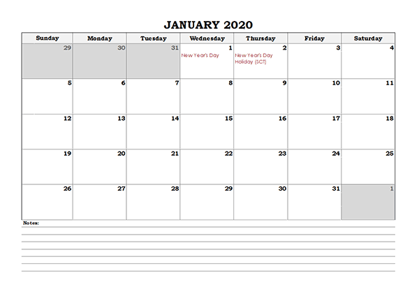 Free January 2020 Printable Calendar With Holidays Calendar School