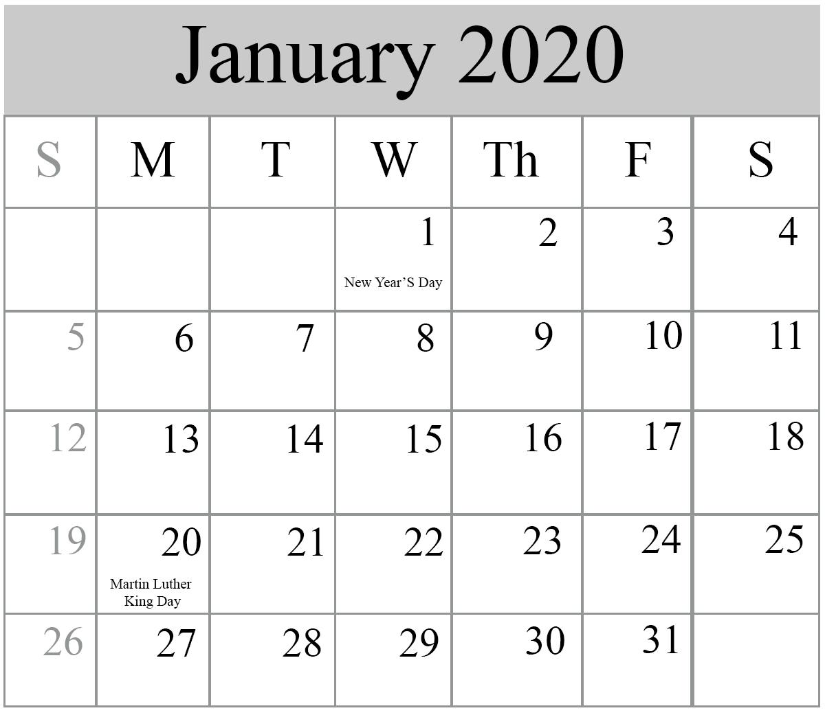 January 2020 Printable Calendar IMOM With Holidays