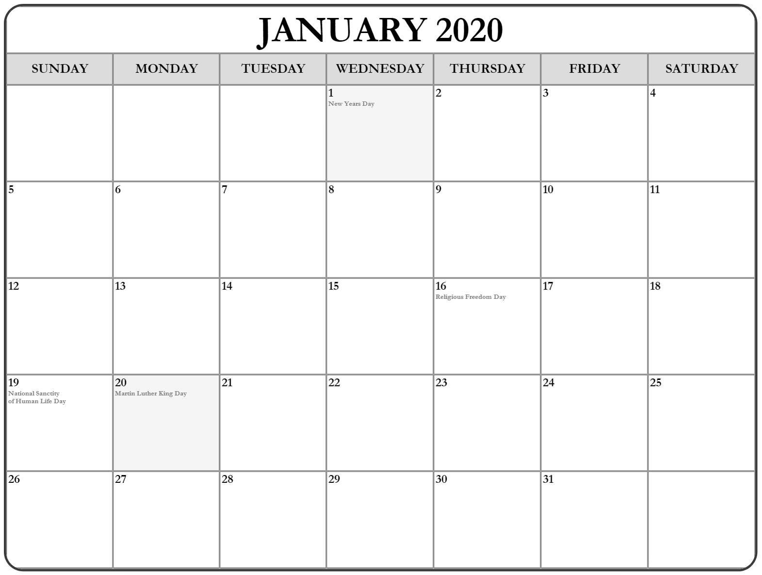 January 2020 Printable Calendar PDF With Holidays
