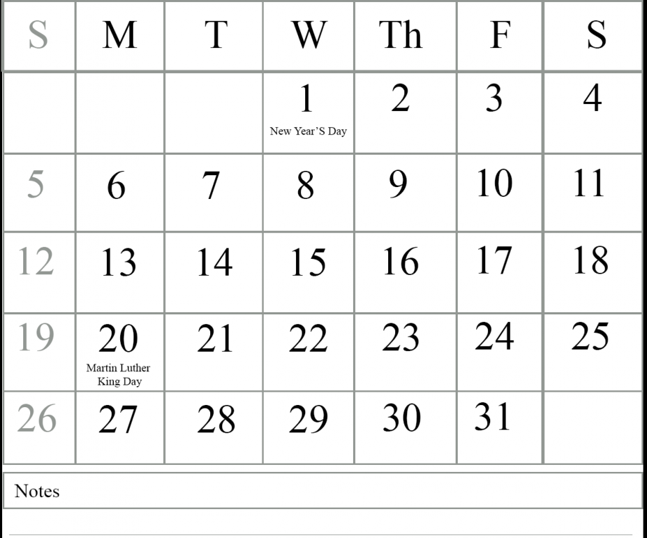January 2020 Printable Calendar Page With Holidays