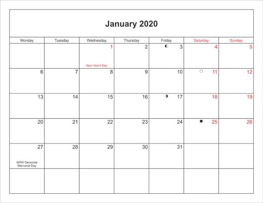 January 2020 Printable Calendar Portrait With Holidays