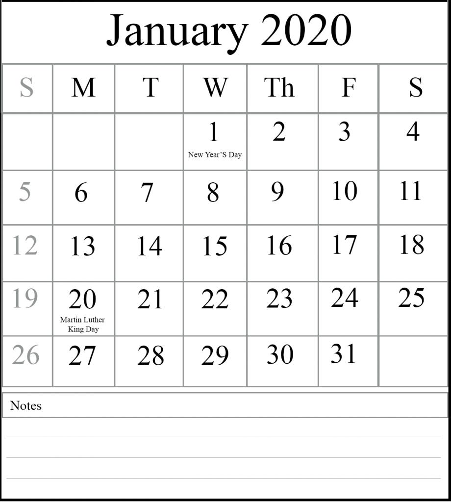January 2020 Printable Calendar Waterproof With Holidays