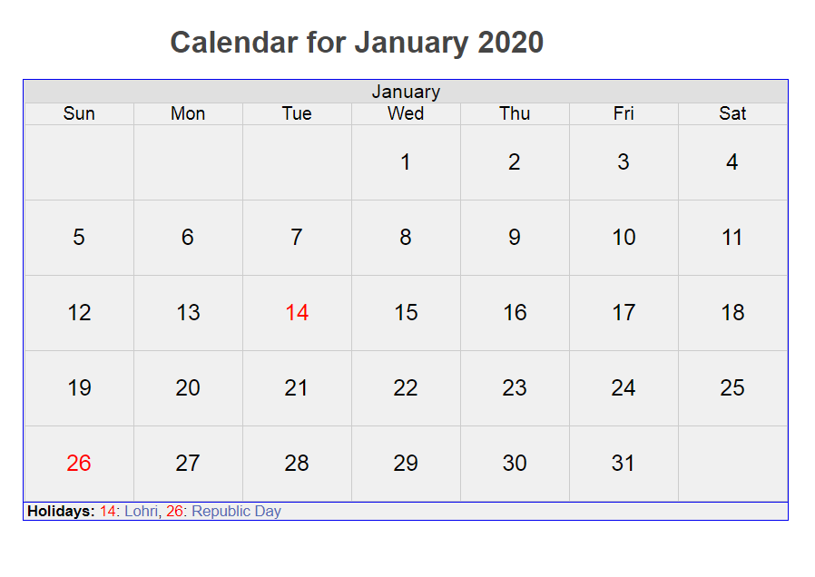 January 2020 Printable Calendar With Lines & Holidays