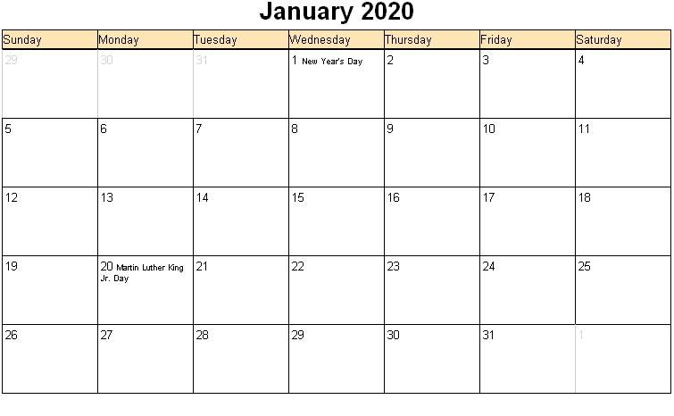 January 2020 Printable Calendar Word With Holidays
