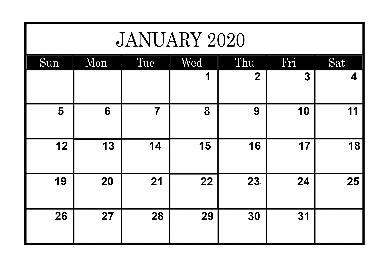 January Calendar Blank 2020