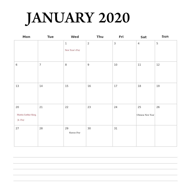 January Calendar Printable 2020