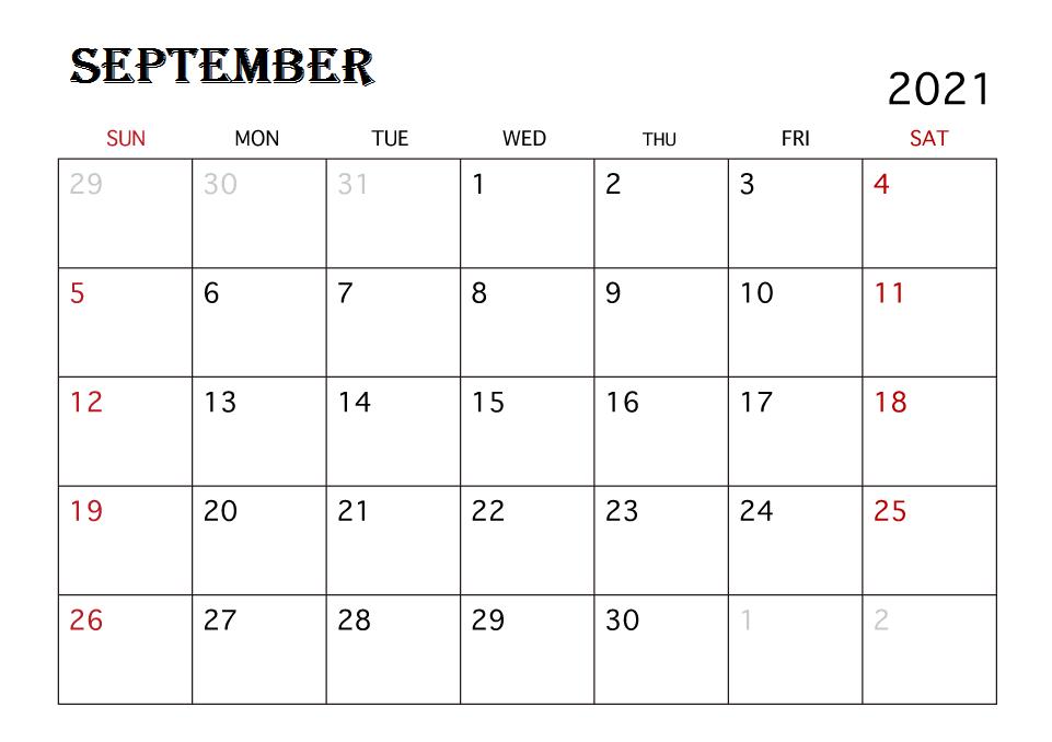 2021 Calendar September Month