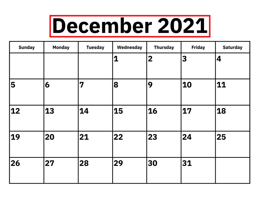 2021 December Calendar Canada