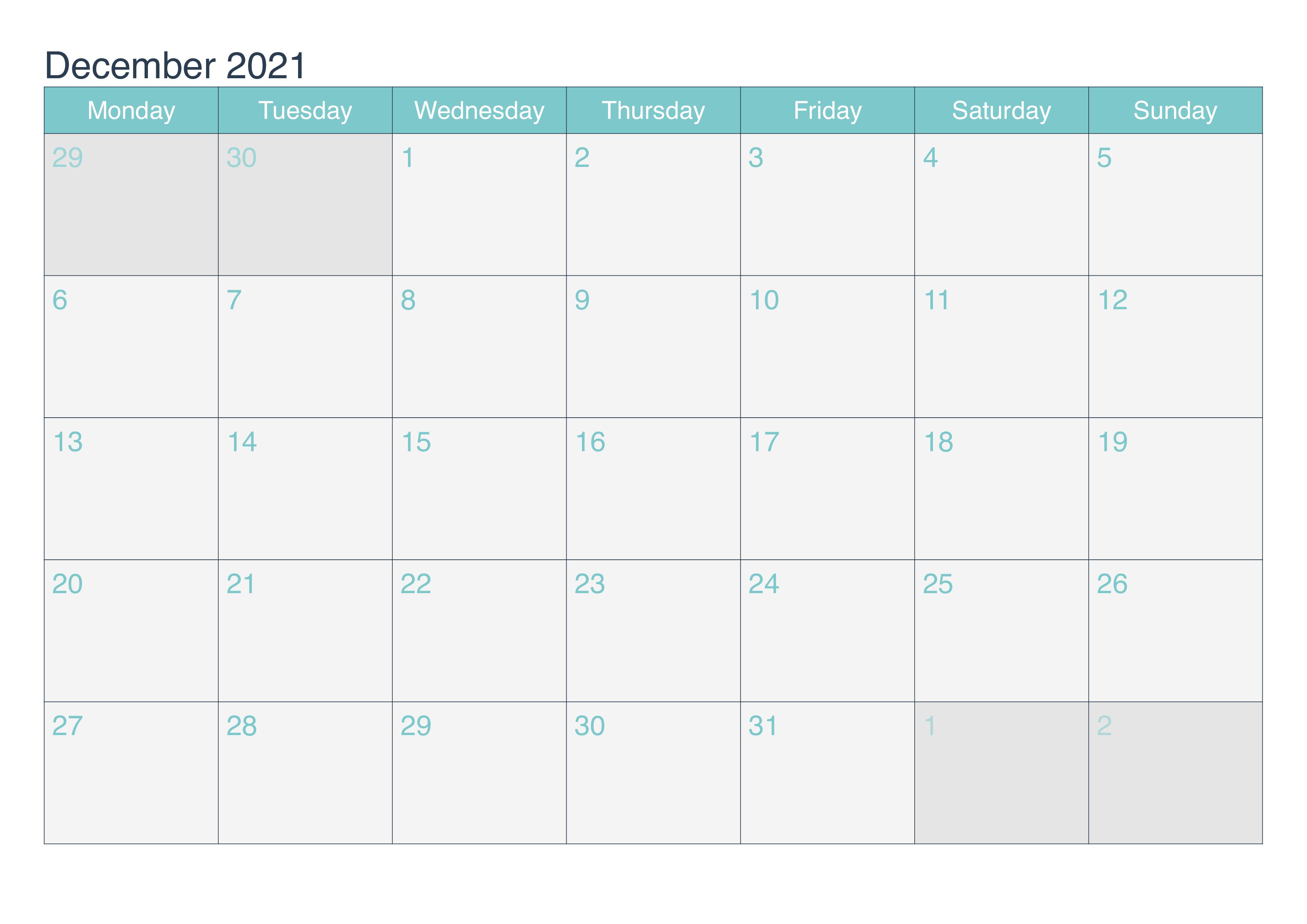2021 December Calendar Telugu