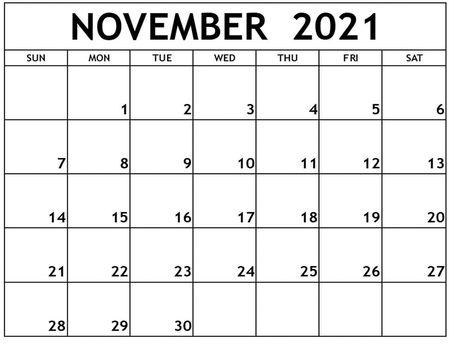 2021 November Calendar Month