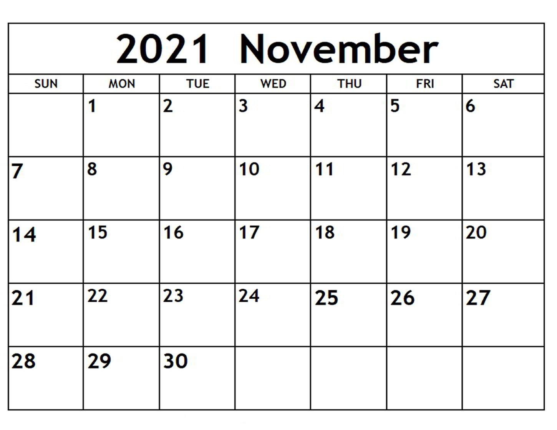 2021 November Calendar Printable