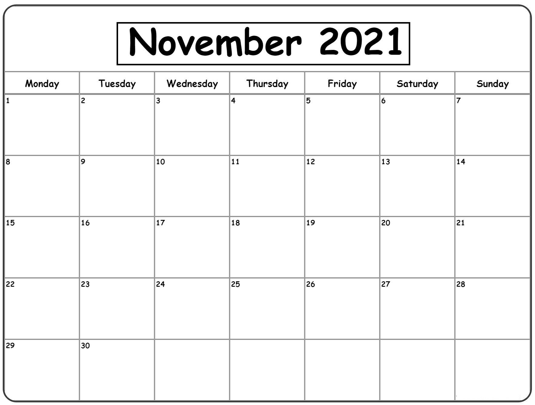 2021 November Calendar With Holidays India