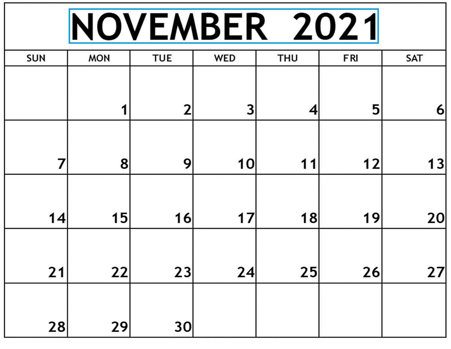 2021 November December Calendar