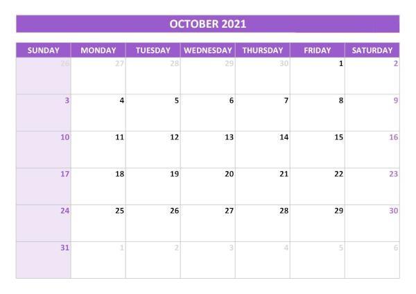 2021 October Calendar Canada