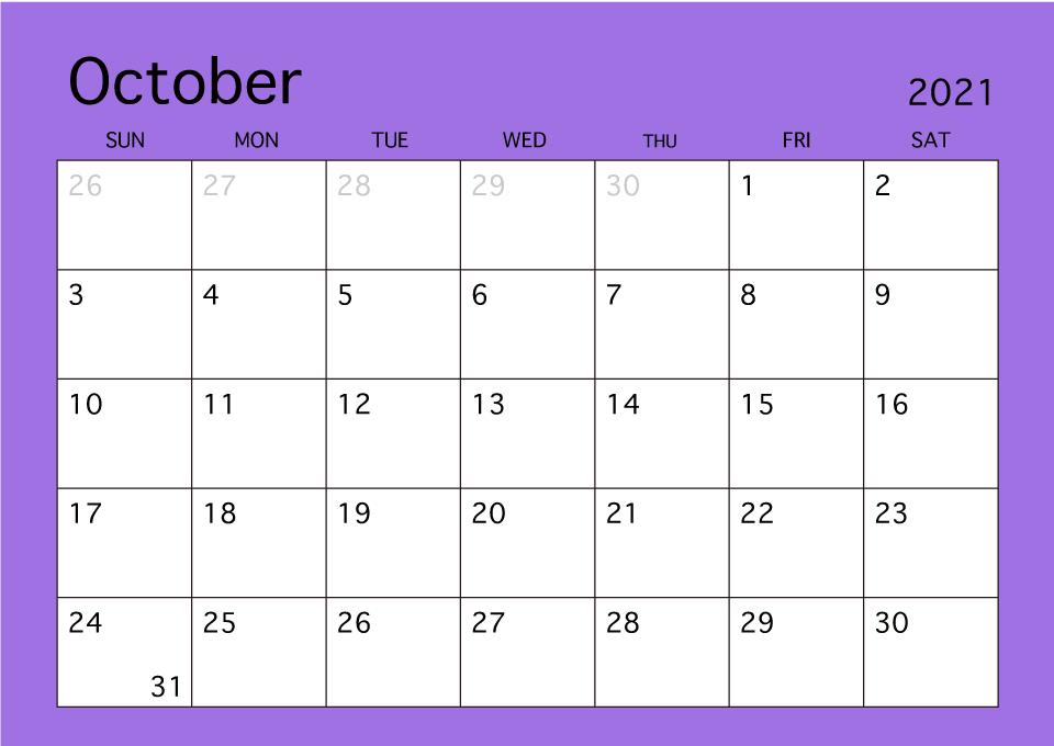 2021 October Calendar Printable