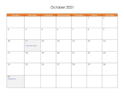 2021 October Calendar With Holidays