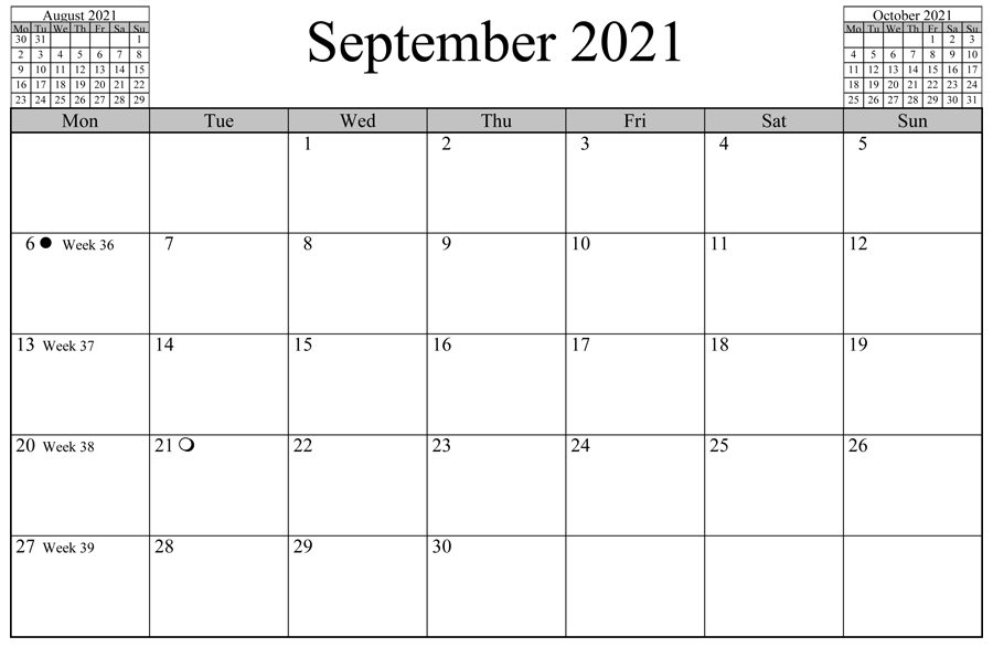 2021 September Calendar UK