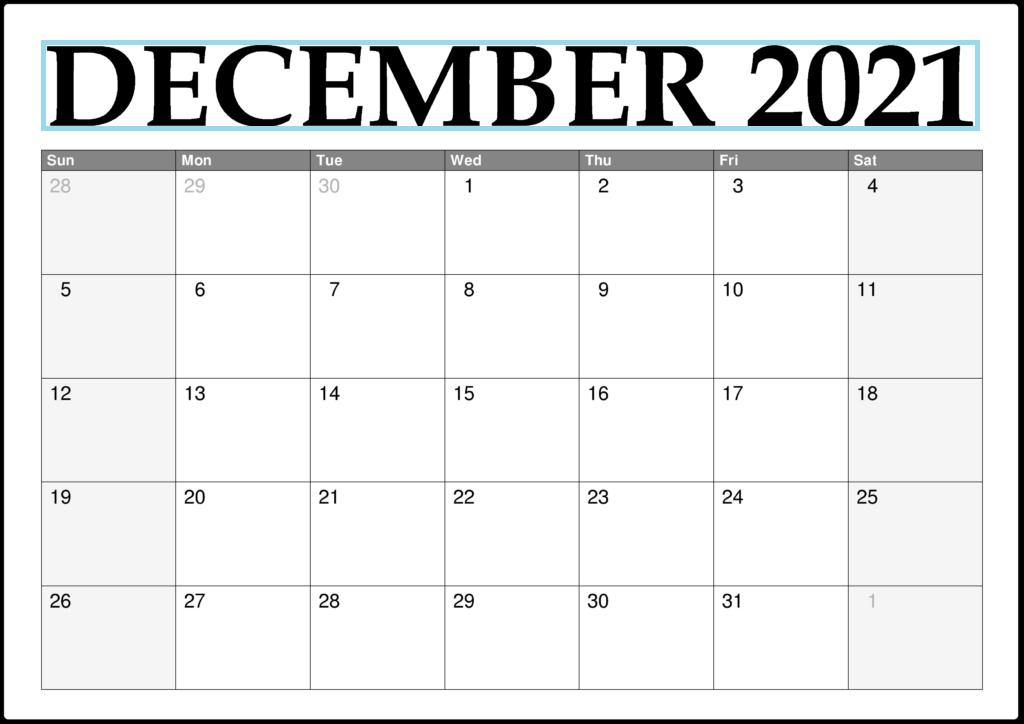 December 2021 Blank Calendar Hobby Lobby