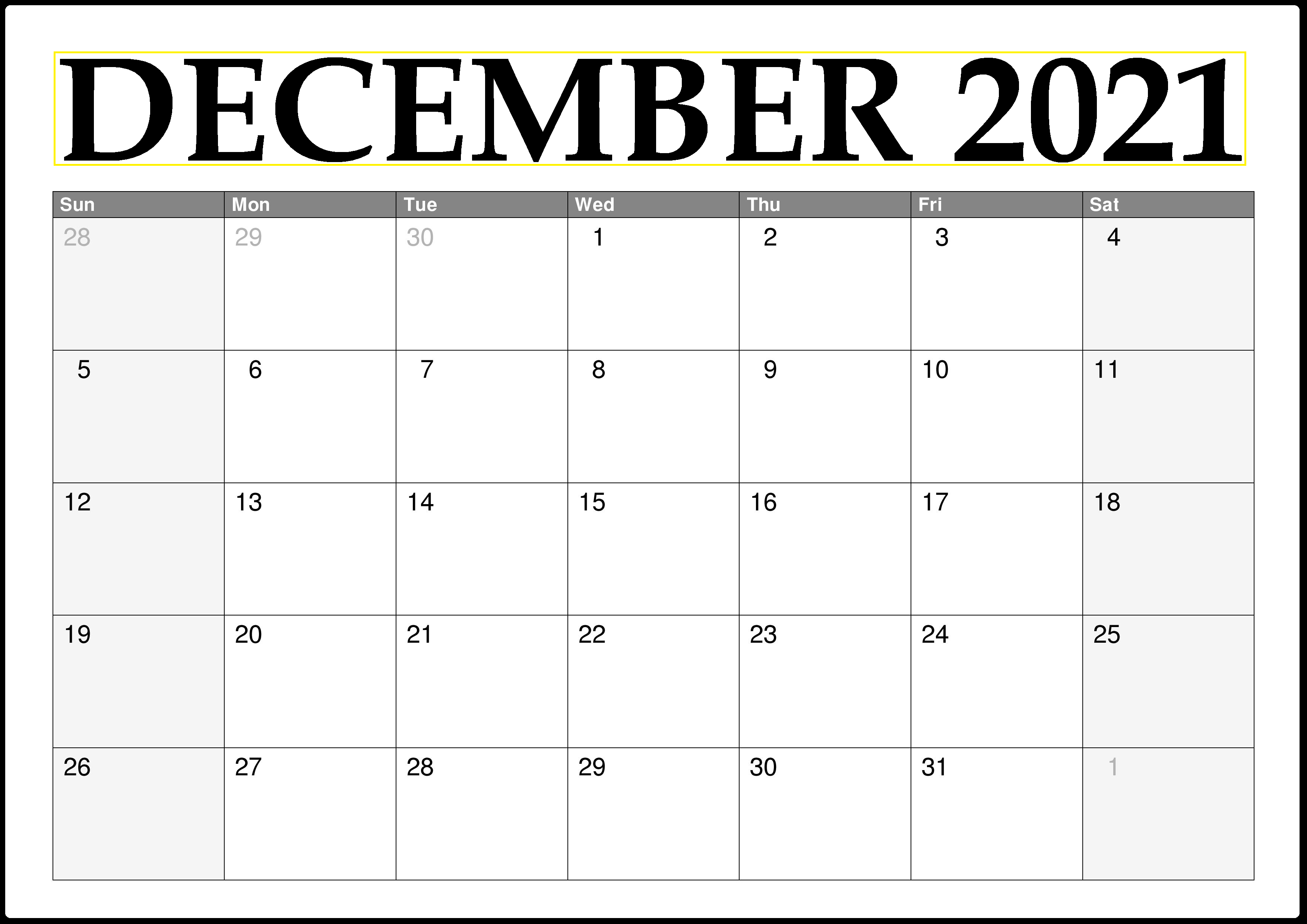 December 2021 Calendar Blank PNG