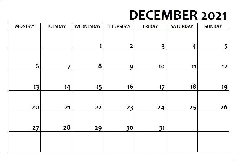 December 2021 Calendar Printable Wiki