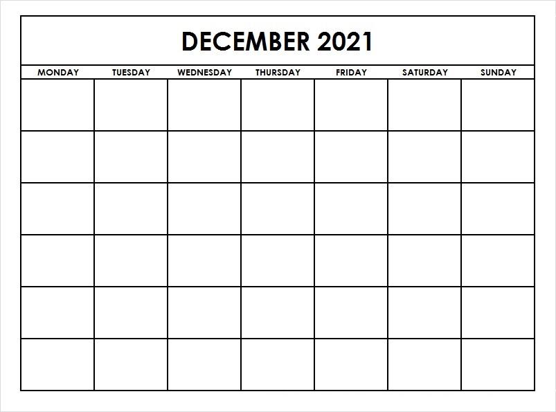 December 2021 Calendar Template Large Square