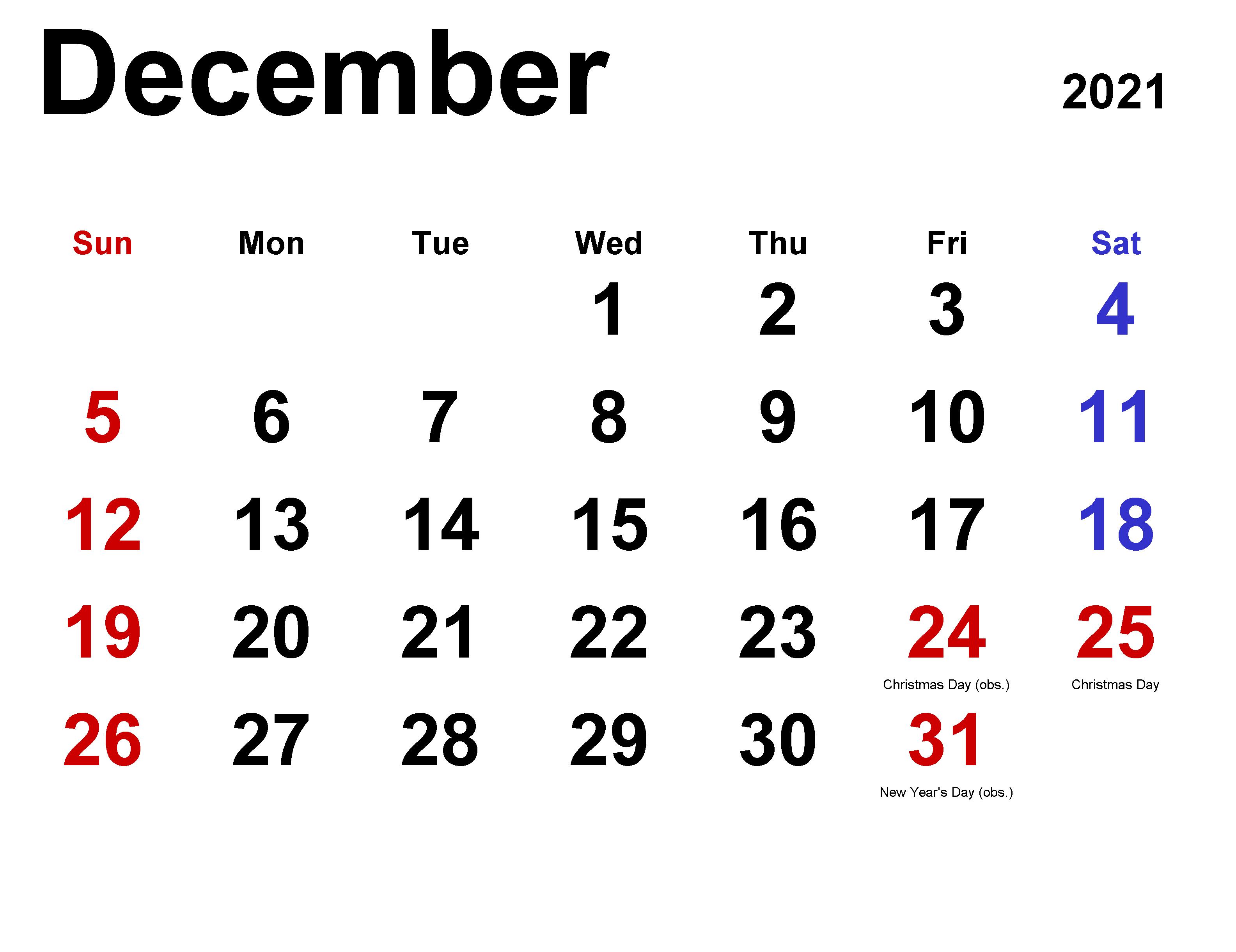 December 2021 Calendar Template for Excel