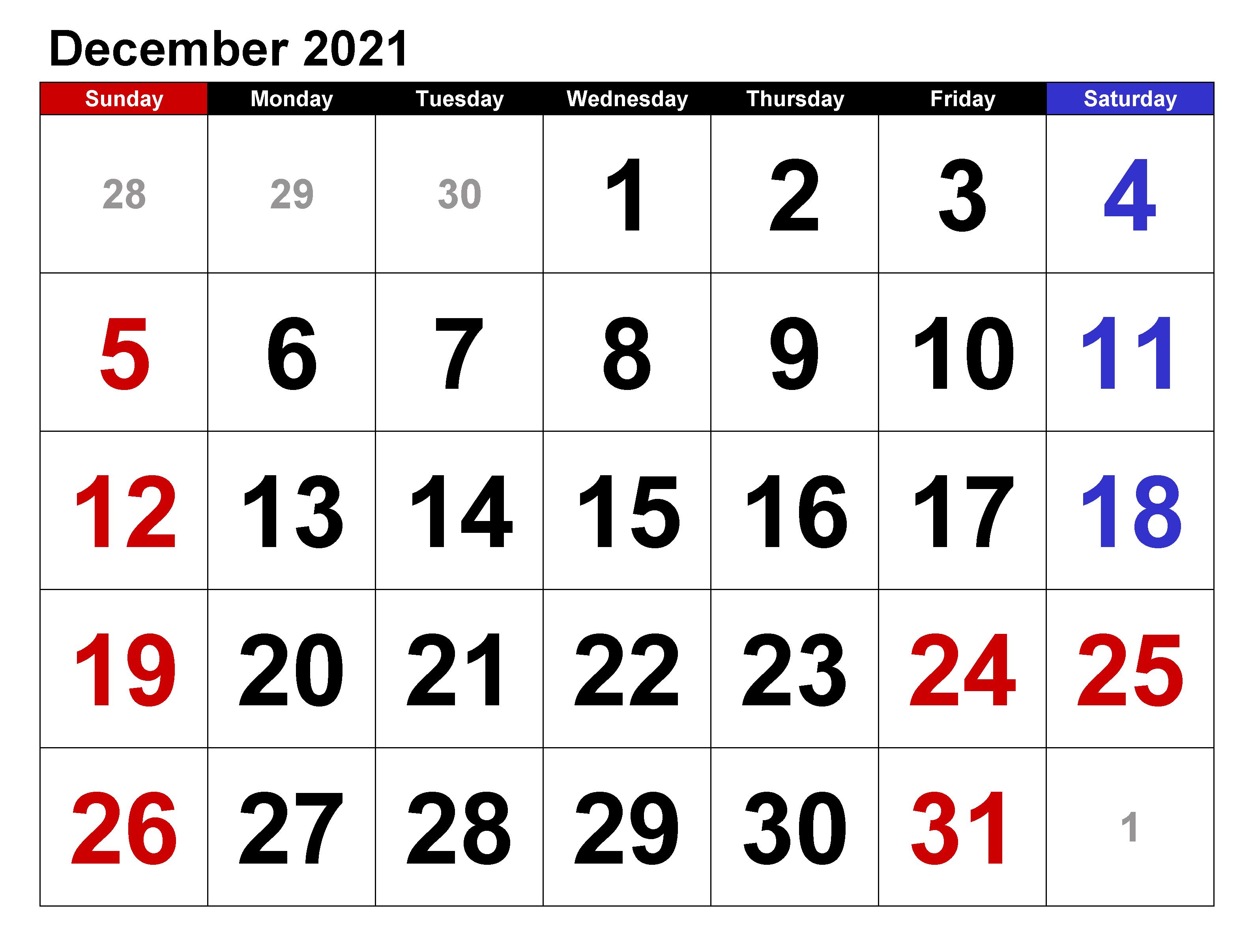 December 2021 Calendar Template for Google Sheets