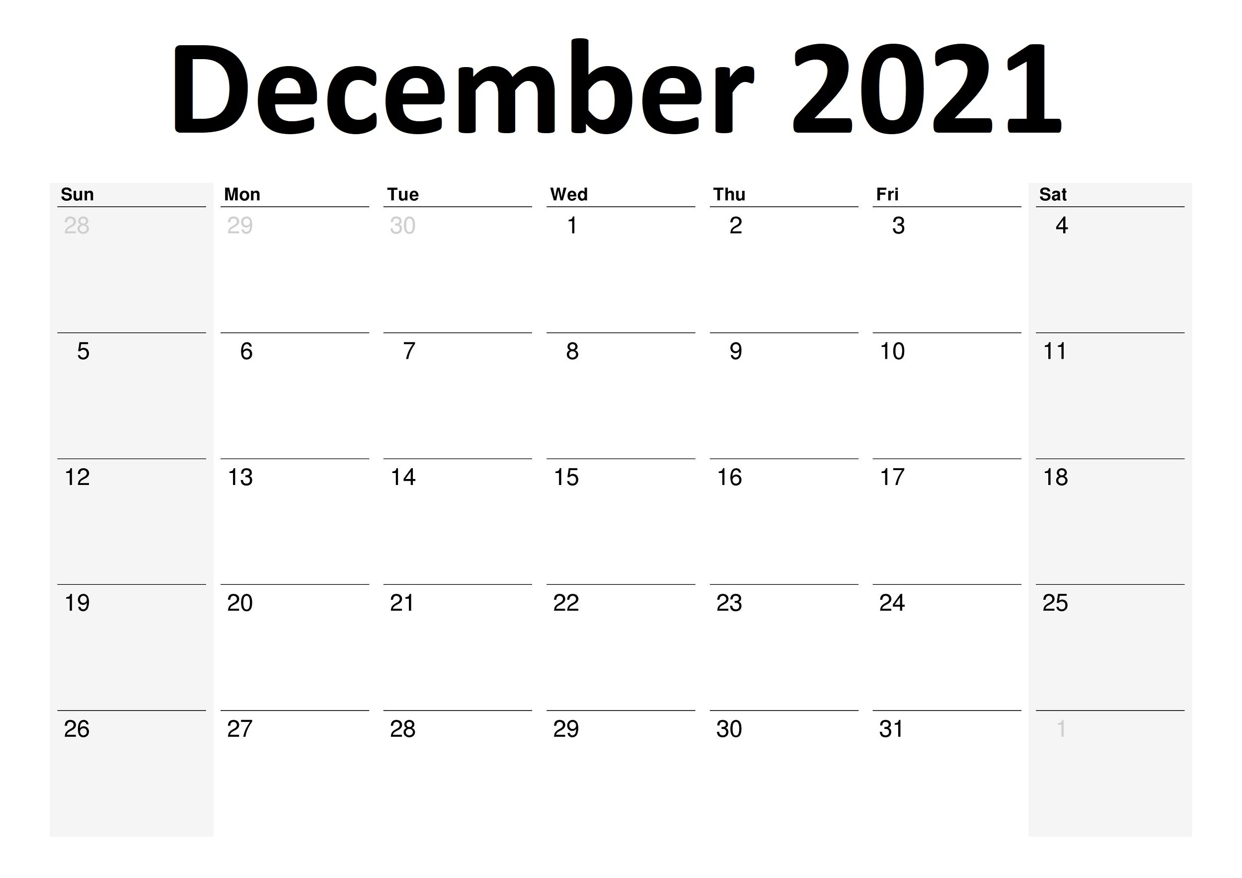 December 2021 Printable Calendar Date Range