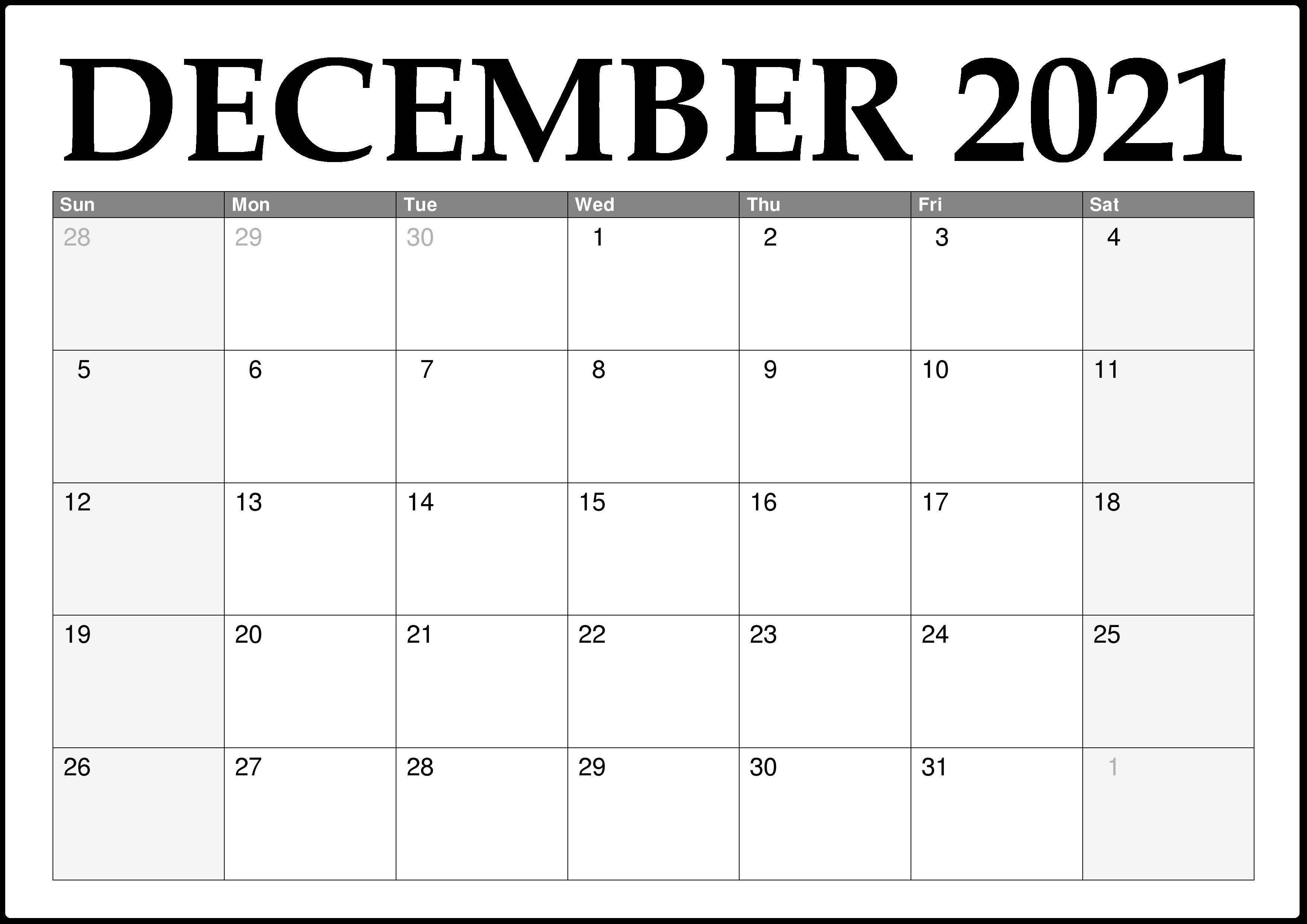 December 2021 Printable Calendar Grid Blank