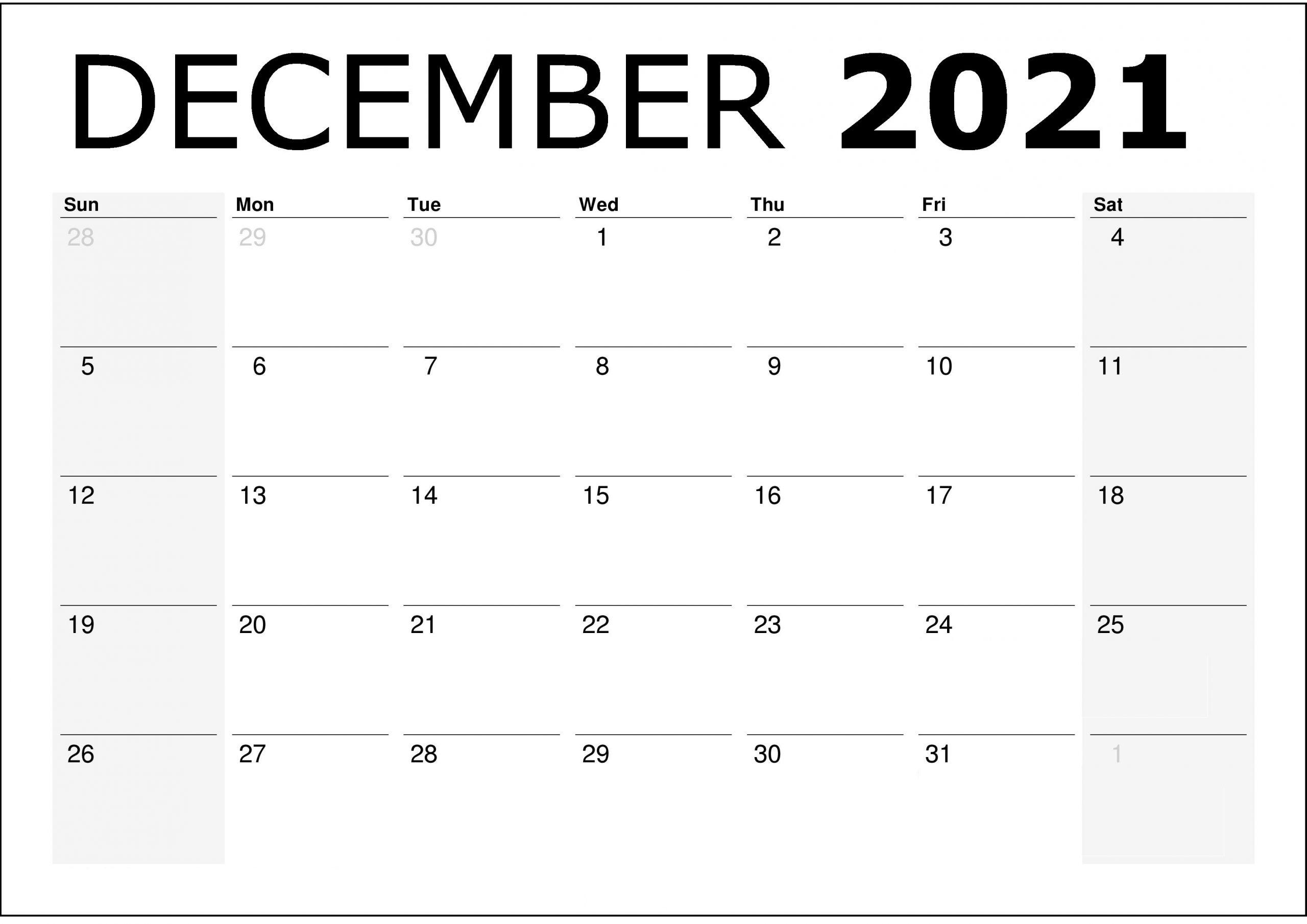 December 2021 Printable Calendar Holiday Stickers