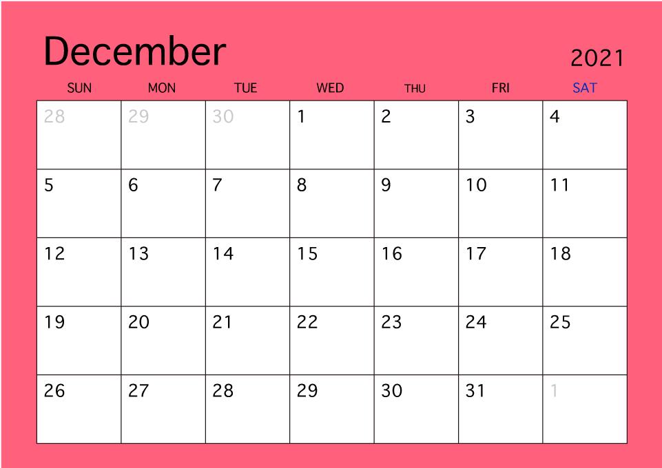 December Calendar 2021 Canada