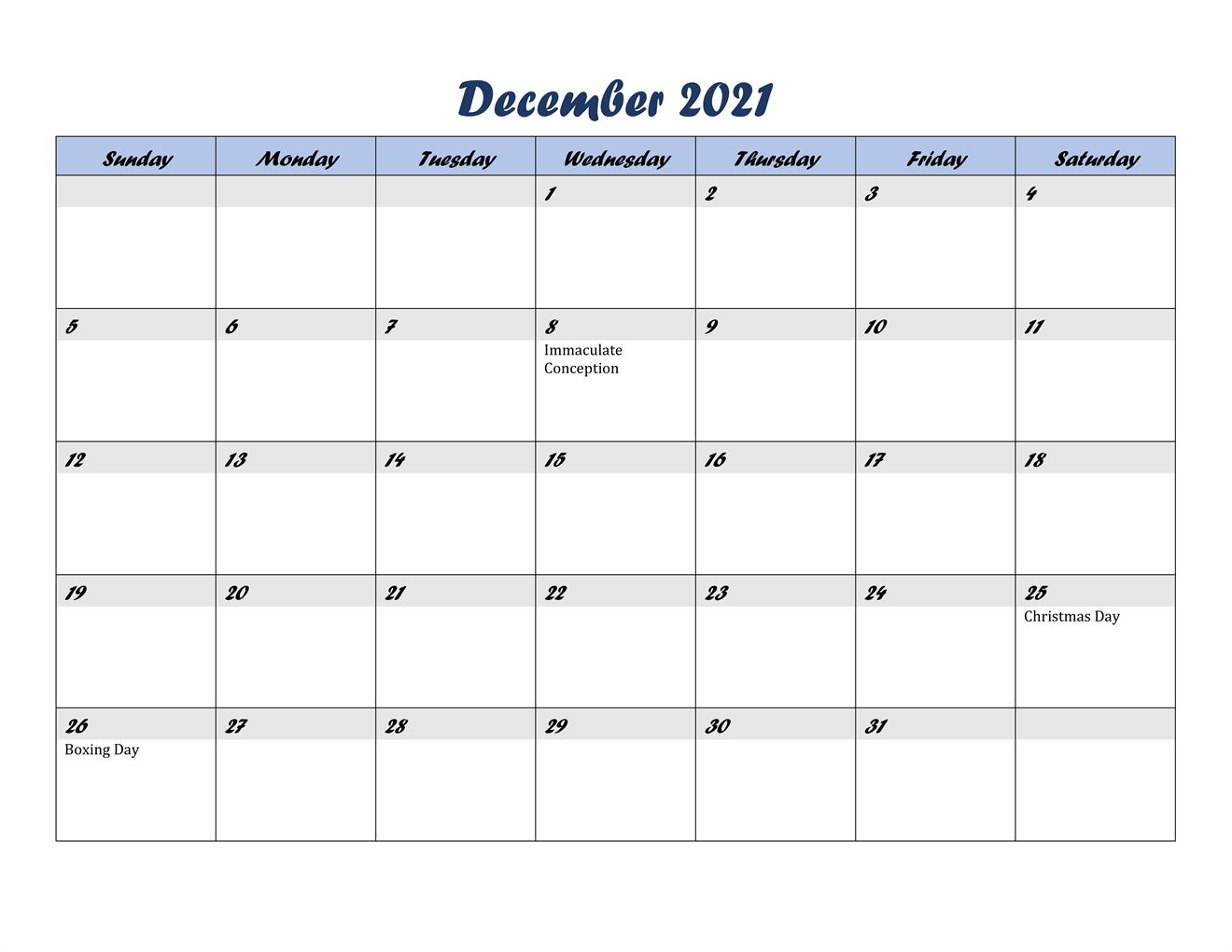 December Calendar 2021 With Holidays India