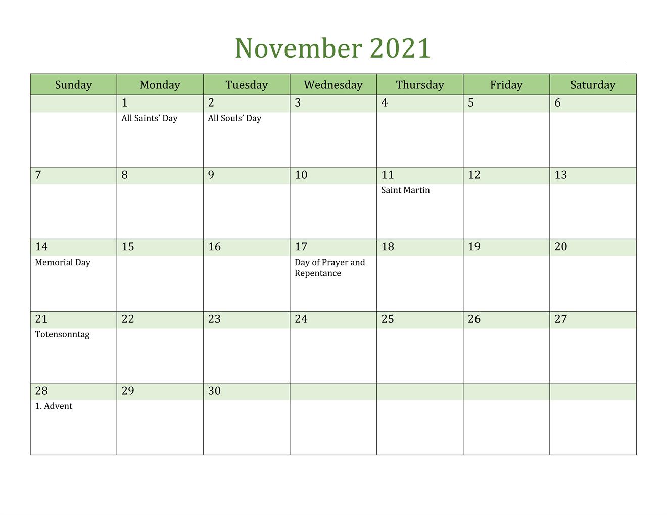 November 2021 Blank Calendar Excel Template