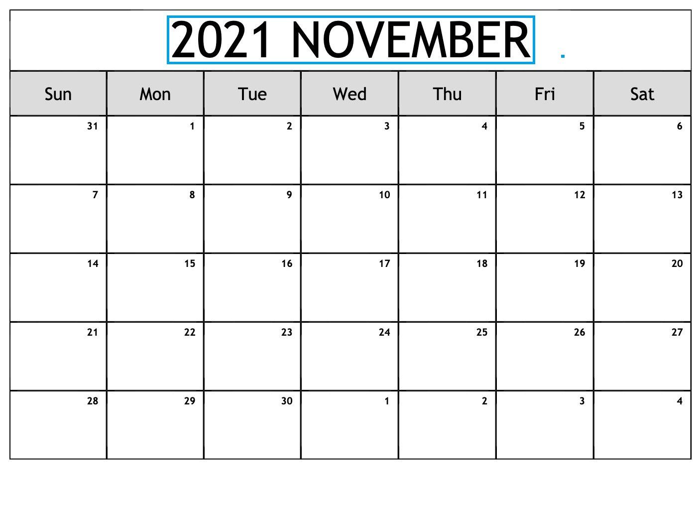 November 2021 Blank Calendar Google Docs