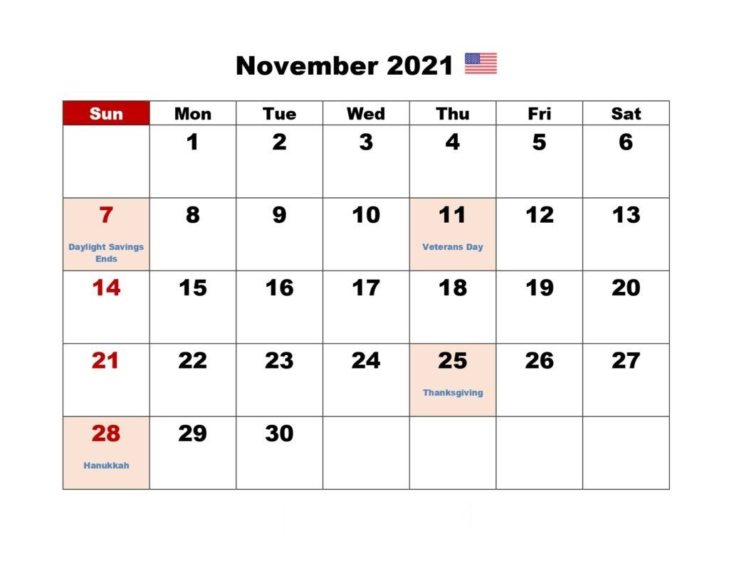 November 2021 Blank Calendar Target Table