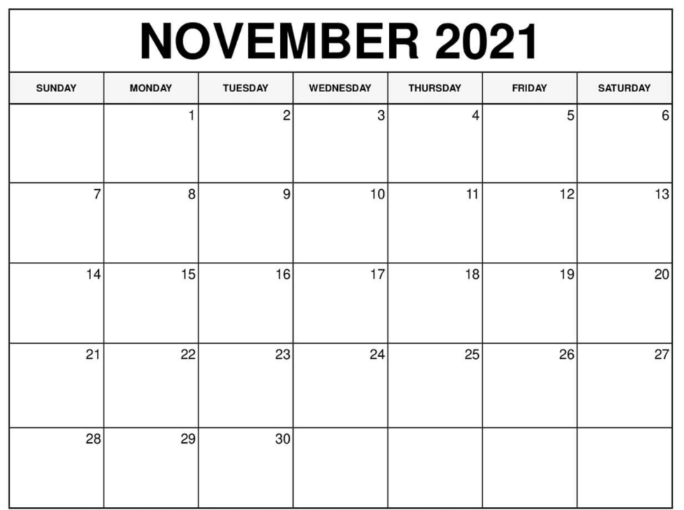 November 2021 Blank Calendar Template With Number