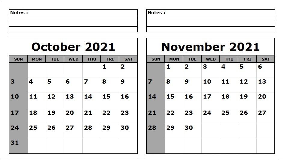 November 2021 Blank Calendar Template to Print