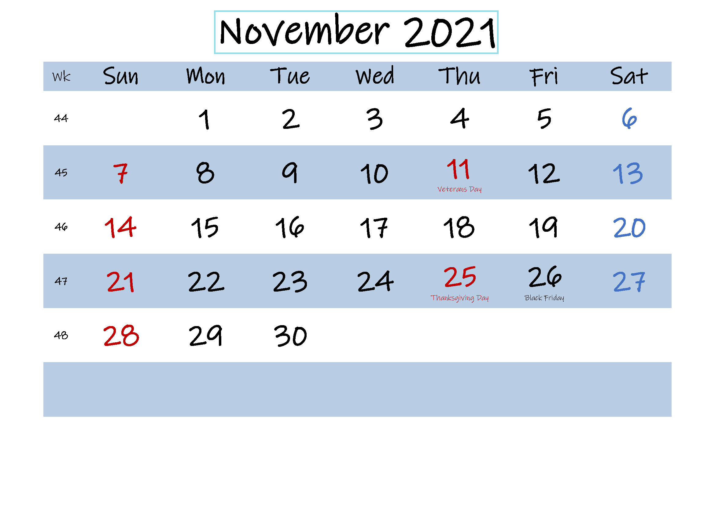 November 2021 Calendar Blank PDF Pages