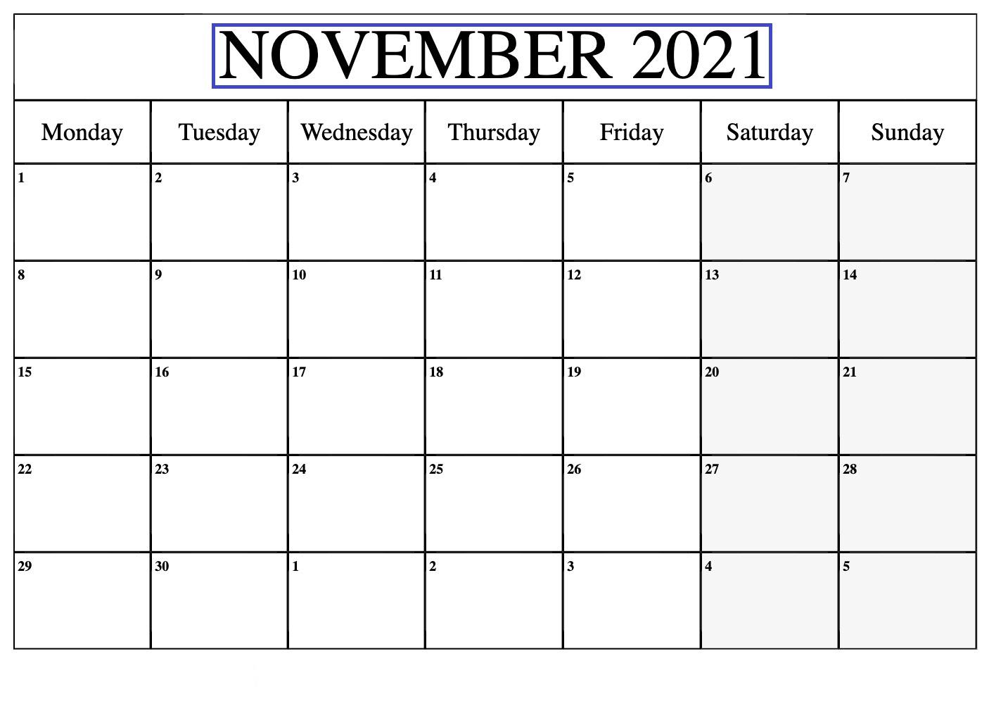 November 2021 Calendar Blank Portrait Poster