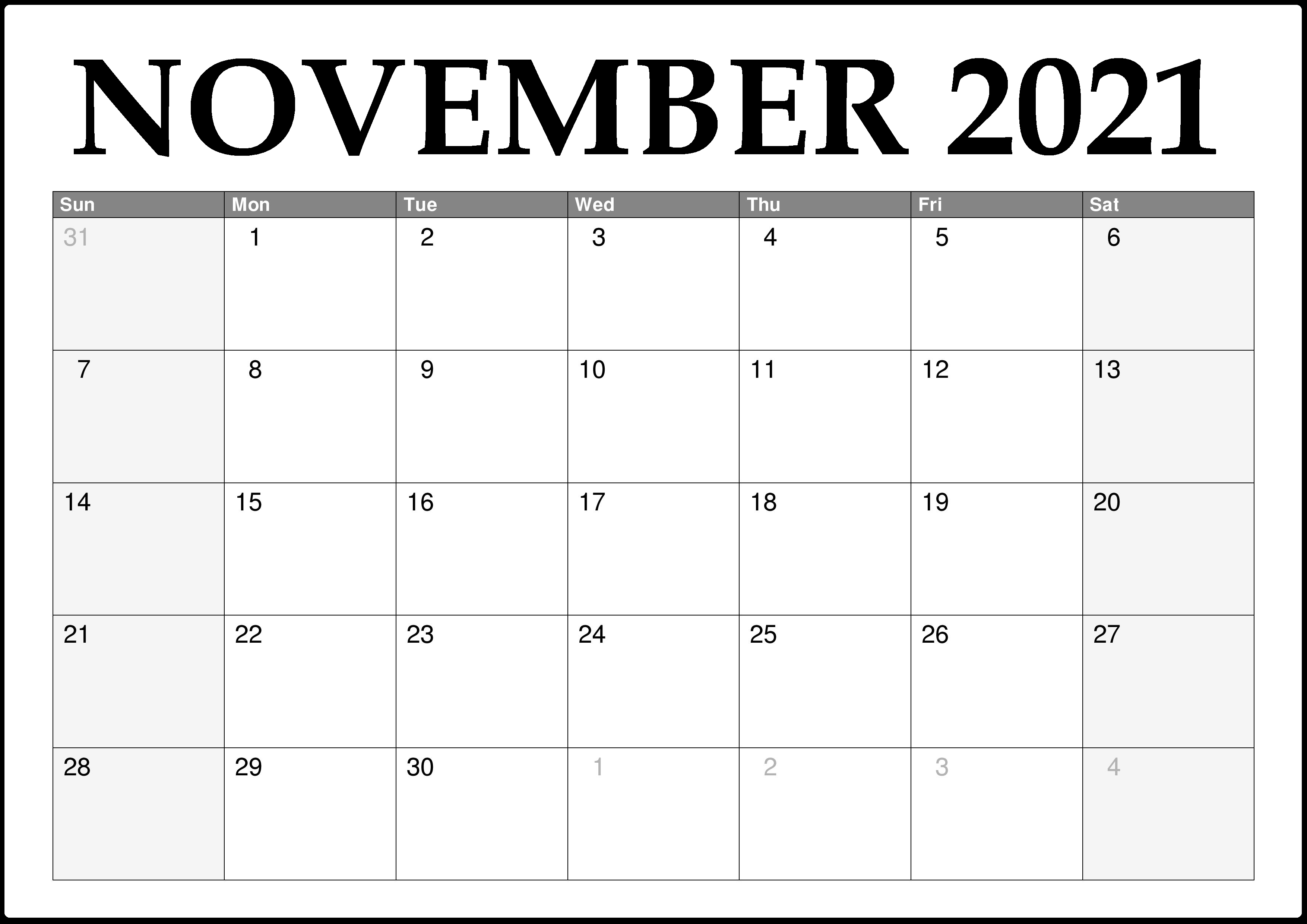 November 2021 Calendar Blank Powerpoint Publisher