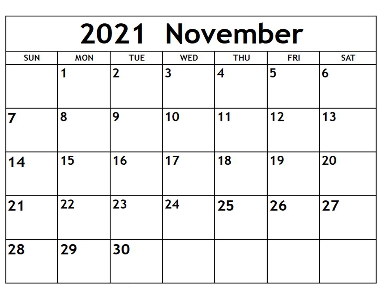November 2021 Calendar Blank Summer Template