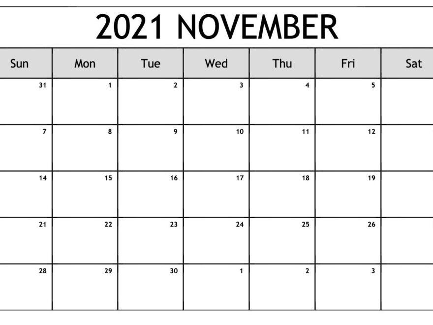 November 2021 Calendar Blank Word Weekly Template