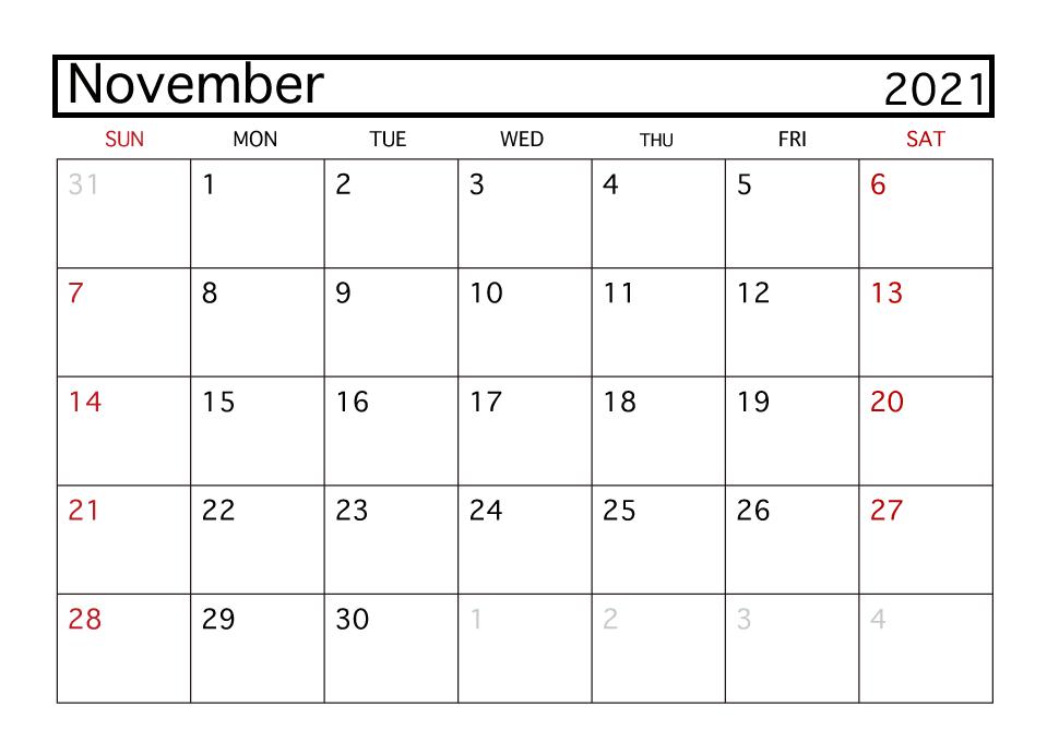 November 2021 Calendar Printable Weekly Template