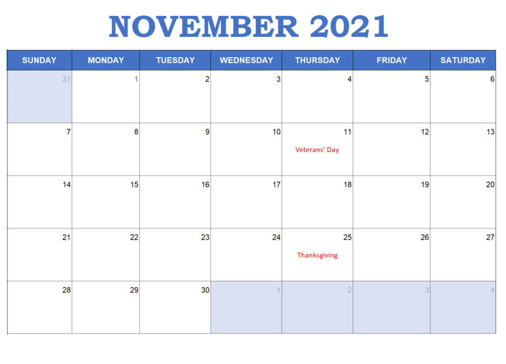 November 2021 Calendar Template Keynotes