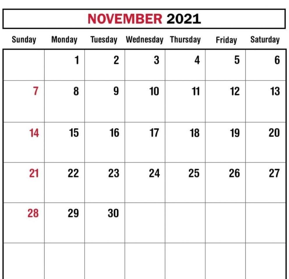 November 2021 Calendar Template Online Photoshop